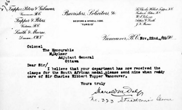Harold Mayne Daly, request for clasps for South African medal; http://www.bac-lac.gc.ca/eng/discover/military-heritage/south-african-war-1899-1902/Pages/image.aspx?Image=e002165595&URLjpg=http%3a%2f%2fcentral.bac-lac.gc.ca%2f.item%2f%3fid%3de002165595%26op%3dimg&Ecopy=e002165595