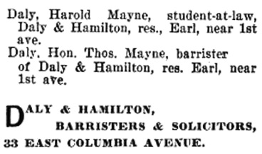 Harold Mayne Daly - Rossland; Henderson's BC Gazetteer and Directory, 1898, page 364