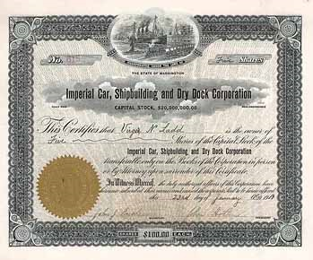 Imperial Car, Shipbuilding and Dry Dock Corporation, stock certificate, http://www.historische-wertpapiere.de/!AktienGross/7/201377.jpg