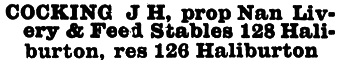 J H Cocking - Nanaimo Livery and Feed Stables - Williams Official British Columbia Directory - 1893 - Haliburton Street - Nanaimo - page 293-294; https://archive.org/stream/cihm_34513#page/n366/mode/1up; https://archive.org/stream/cihm_34513#page/n367/mode/1up