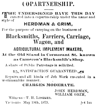 John Herdman and William Grim, announcement of co-partnership, May 19, 1873, Daily British Colonist, June 7, 1873, page 2, http://archive.org/stream/dailycolonist18730607uvic/18730607#page/n1/mode/1up