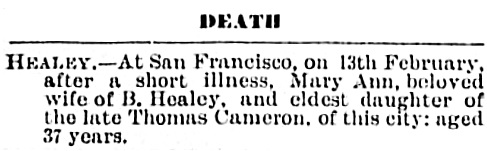 Mary Ann Healey, death notice, Victoria Daily Colonist, February 21, 1888, page 4, http://archive.org/stream/dailycolonist18880221uvic/18880221#page/n3/mode/1up.