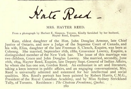 Mrs Hayter Reed - Types of Canadian women and of women - connected with Canada - Henry James Morgan - Toronto - William Briggs - 1903 - page 280 - part B; https://archive.org/stream/typesofcanadianw01morguoft#page/280/mode/1up