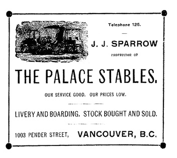 Palace Stables, Henderson's BC Gazetteer and Directory, 1901, between pages 754 and 755.