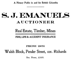 S J Emanuels - Auctioneer - Henderson's City of Vancouver Directory - 1907 - page 38