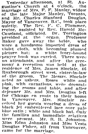 Social Events - Marriage of Charles Stanford Douglas and Mrs F F Manley - Toronto Globe - March 25 1909 - page 5