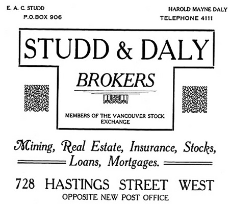 Studd and Daly - Henderson's City of Vancouver and North Vancouver Directory - 1910 - part 1 - page 54