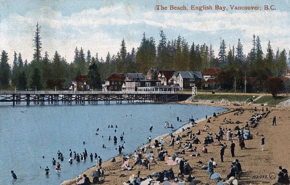 The Beach, English Bay, Vancouver, B.C., postcard, after 1908.