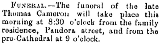 Thomas Cameron, funeral notice, British Columbia Daily Colonist, February 23, 1886, page 3, http://archive.org/stream/dailycolonist18860223uvic/18860223#page/n2/mode/1up