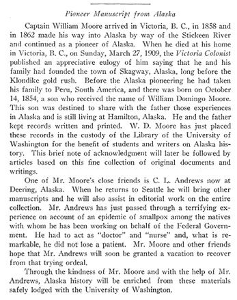 William Moore, Pioneer Manuscript from Alaska, University of Washington Journal, [no date given], page 160, https://journals.lib.washington.edu/index.php/WHQ/article/viewFile/7660/6696