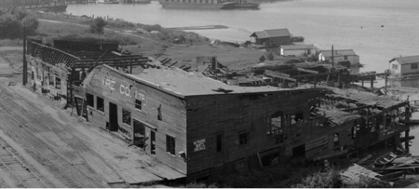 B.C. Nail and Wire Company building, about 1920, [View of water front showing Hastings Sawmill, B.C. Nail factory, Balfour-Guthrie Warehouse and dock, G.N. Railway dock and the B.C. Sugar refinery], Vancouver City Archives, PAN N237, http://searcharchives.vancouver.ca/index.php/view-of-water-front-showing-hastings-sawmill-b-c-nail-factory-balfour-guthrie-warehouse-and-dock-g-n-railway-dock-and-b-c-sugar-refinery