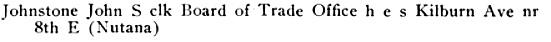 Henderson's Saskatoon city directory, volume 5 (1912), page 192, http://peel.library.ualberta.ca/bibliography/3177.2.3/196.html.