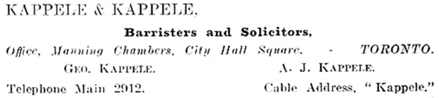 Canadian Law List, 1906, page 24, Ontario Legal Cards, https://archive.org/stream/canadianlawlist1906aginuoft#page/24/mode/1up/search/kappele