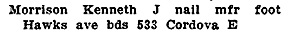 Kenneth J Morrison - Henderson's City of Vancouver Directory - 1908 - page 816