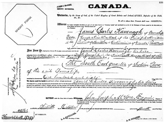 Land Grants of Western Canada, 1870-1930, James Charles Kavanagh, http://www.bac-lac.gc.ca/eng/discover/land/land-grants-western-canada-1870-1930/Pages/item.aspx?IdNumber=490360&: Name: James Charles Kavanaghl; Part: SE; Section: 2; Township: 10; Range: 19; Meridian: W1; Folio: 126; Liber: 69; Microfilm Reel Number: C-5991; Item Number: 490360.