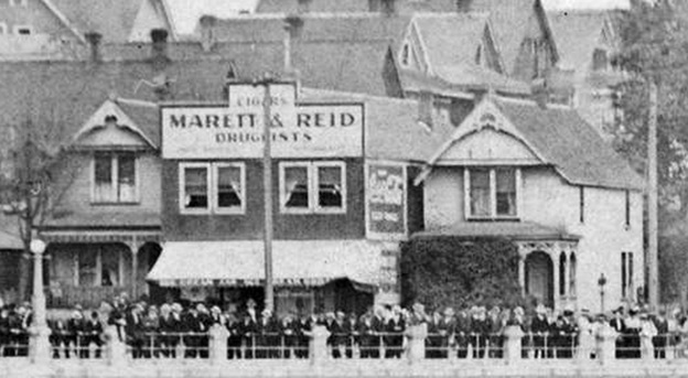 Marett & Reid, druggists, English Bay Beach, detail, about 1909, Vancouver city Archives, Be P31.3, http://searcharchives.vancouver.ca/index.php/english-bay-beach-7