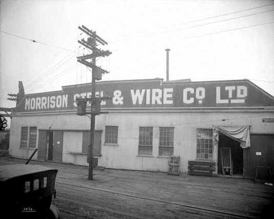 Morrison Steel & Wire Co. Ltd, Granville Island, 1921, Vancouver Public Library, VPL Accession Number: 21058; http://www3.vpl.ca/spePhotos/LeonardFrankCollection/02DisplayJPGs/336/21058.jpg