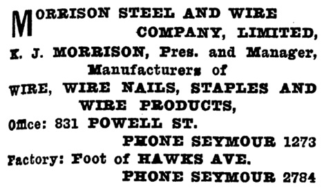 Morrison Steel and Wire Company Limited - Henderson's Greater Vancouver Directory - 1912 - Part 2 - page 1049