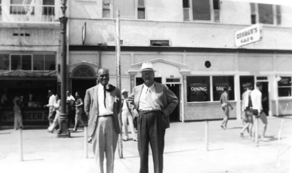 "Neville Kavanaugh and William Martin Moreland - probably Long Beach, California - 1937. Tentative identification. Note by Kaye Rowe: ""Neville Kavanaugh, (once lived in Yaeger house, 13th and Lorne) [Brandon, Manitoba]. Source: a relative of the Kavanagh family."