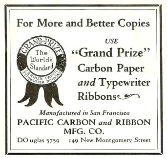 Pacific Carbon and Ribbon Manufacturing Company; San Francisco Business, June 10, 1929, page 27, https://archive.org/stream/sanfranciscobusi1829sanf#page/n388/mode/1up