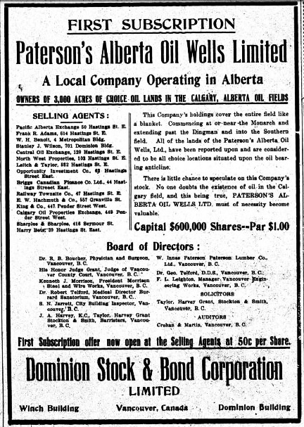 Paterson's Alberta Oil Wells Limited, subscription offer, Western Call, July 24, 1914, page 2, http://historicalnewspapers.library.ubc.ca/view/collection/westcall/item/1444#2!morrison: [Board of directors included Kenneth J. Morrison, President Morrison Steel and Wire Works, Vancouver, B.C.]