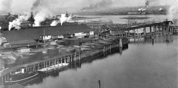 Robertson and Hackett Sawmill in False Creek, about 1910, Vancouver City Archives, Van Sc P26, http://searcharchives.vancouver.ca/robertson-and-hackett-sawmill-in-false-creek