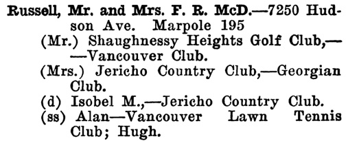 Russell - Greater Vancouver Social and Club Register - 1927 - page 63