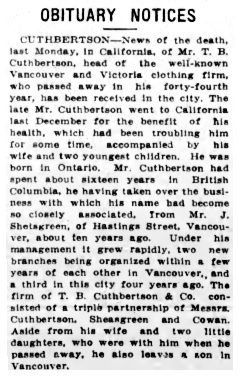 T.B. Cuthbertson, obituary notice, Victoria Daily Colonist, February 5, 1913, page 7, http://fultonhistory.com/Newspapers%2021/Vicroria%20BC%20Daily%20Colonist/Vicroria%20BC%20Daily%20Colonist%20%20%201913/Vicroria%20BC%20Daily%20Colonist%201913%20(191).pdf