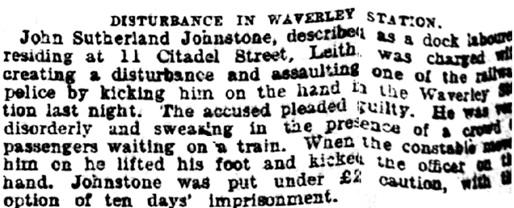 This Day's Police News, Edinburgh Evening News (Edinburgh, Scotland), Saturday, February 19, 1898, page 2.