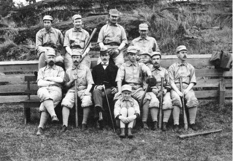 Vancouver Legal Baseball Team, 1900, Vancouver City Archives, Sp P93, http://searcharchives.vancouver.ca/index.php/vancouver-legal-baseball-team; [A.J. Kappele is seated, fourth from left.]