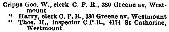 Montreal City Directory, 1899-1900, page 693.