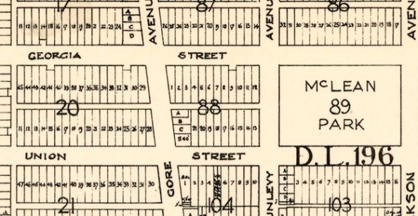 East Georgia Street, Vancouver City Archives, MAP 682.14; 1954; Sheet 12 : Ontario Street to Clark Drive and Keefer Street to Second Avenue, [detail], http://searcharchives.vancouver.ca/index.php/sheet-12-ontario-street-to-clark-drive-and-keefer-street-to-second-avenue.