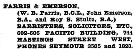 Henderson's Greater Vancouver City Directory, 1918, page 510