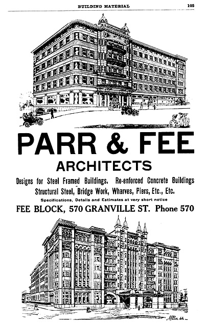 Parr and Fee Architects, advertisement, Henderson's City of Vancouver Directory, 1908, page 105