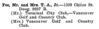 Greater Vancouver Social and Club Register, 1927, page 25