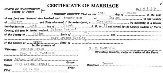 Washington State Archives, Pierce County Auditor, Marriage Records, 1876-2013 - Delmer Freimuth - Mary Arline Horsley; http://www.digitalarchives.wa.gov/Record/View/E8144EB9736D1870420CDD2352AC1FEB