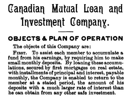 Canadian Mutual Loan and Investment Company, brochure, published 1888, page 3, https://archive.org/stream/cihm_37737#page/n8/mode/1up