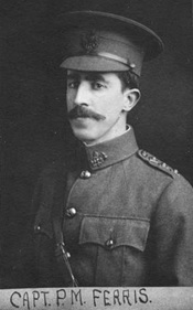 Captain P.M. Ferris, VLP 76.8 - 6th Regiment Duke of Connaught's Own Riles [sic] Officers– 1911 [detail]; Vancouver City Archives, http://searcharchives.vancouver.ca/index.php/6th-regiment-duke-of-connaughts-own-riles-officers-officers-1911