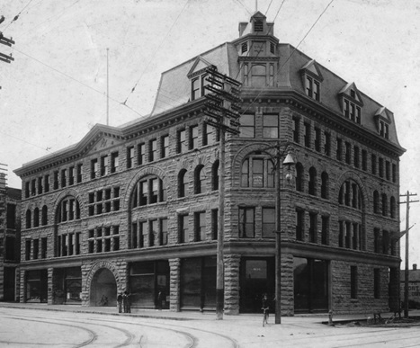 Exterior of the MacKinnon Building - 413 Granville Street, 1898, Vancouver City Archives, Bu P260; http://searcharchives.vancouver.ca/index.php/exterior-of-mackinnon-building-413-granville-street.