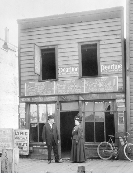 George Eldon and Emily Eldon (formerly Mrs. Alexander Strathie), [118 Water Street prior to demolition],Vancouver City Archives, Str N19; http://searcharchives.vancouver.ca/index.php/118-water-street-prior-to-demolition-2. [See note in sources section below.]