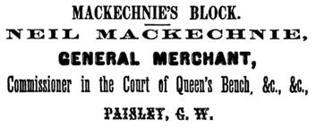 Directory of the County of Bruce, Canada West, 1867, page 156; https://books.google.ca/books?id=QxQ1AQAAMAAJ&pg=PA156&lpg=PA156&dq=%22mackechnie%22+paisley+ontario&source=bl&ots=5ptEtjzrfF&sig=yrlLN0PMYPGx_ZAz1q7e2ID8bNE&hl=en&sa=X&ved=0CB4Q6AEwATgKahUKEwjVo5eC3YjIAhWFOIgKHQoyDEE#v=onepage&q&f=false