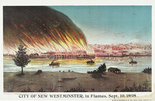 W.R. Creech, City of New Westminster, in Flames, Sept. 10, 1898; https://oppositethecity.files.wordpress.com/2012/02/city-of-new-westminster-in-flames-sept-10-1898.jpg