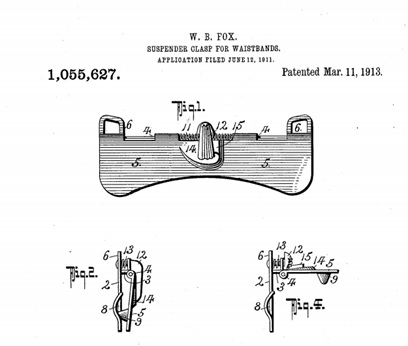 Willoughby Beresford Fox, Suspender Clasp for Waistbands, United States Patent 1055627; http://www.google.com/patents/US1055627