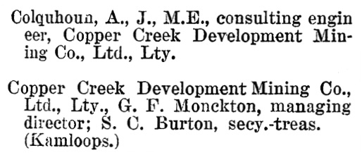 Henderson's BC Gazetteer and Directory, 1901, page 241 (Savona).