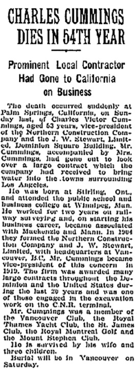 """Charles Cummings Dies in 54th Year,"" Montreal Gazette - November 7, 1933, page 5, https://news.google.com/newspapers?id=mhYvAAAAIBAJ&sjid=TqgFAAAAIBAJ&pg=3335%2C789750."