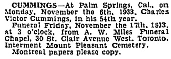 Charles Victor Cummings, death notice, Toronto Globe, November 15, 1933, page 12, column 1.