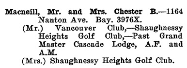 Greater Vancouver Social and Club Register, 1927, page 45