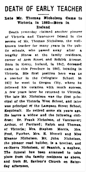 Victoria Daily Colonist, February 26, 1914, page 5; http://archive.org/stream/dailycolonist56y65uvic#page/n4/mode/1up/search/thomas+nicholson