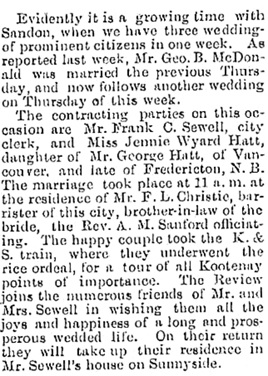 Wedding Bells, Mining Review (Sandon), December 16, 1899, page 1; http://historicalnewspapers.library.ubc.ca/view/collection/miningrev/date/1899-12-16#1