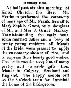 Calgary Daily Herald, June 16, 1892, page 1; near bottom of column 5; http://www.ourfutureourpast.ca/newspapr/np_page2.asp?code=N1MP0590.jpg.